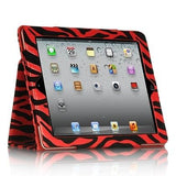Apple iPad 2 / 3 Luxmo Stand Pouch w/ Sleeper Function - Black / Red Zebra
