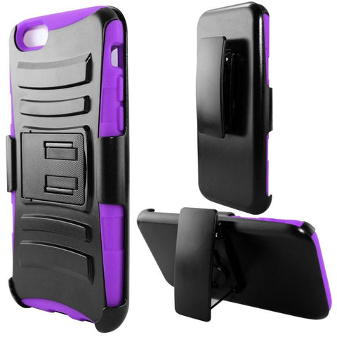 Apple iPhone 6 / 6S - Heavy Duty Armor Style 2 Case w/ Holster - Purple / Black