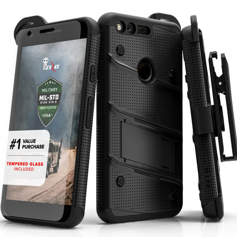 Zizo BOLT Cover w/ Kickstand, Holster, Tempered Glass Screen Protector, Lanyard for Google Pixel XL