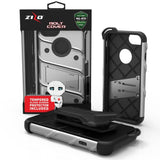 Apple iPhone 6 / 6S / 7 / 8 - BOLT Cover w/ Kickstand, Holster, Tempered Glass Screen Protector, Lanyard - Gray / Black