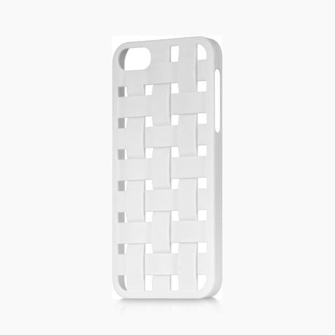 Apple iPhone 5 Luxmo Crystal Rubber Protector Case Criss Cross White