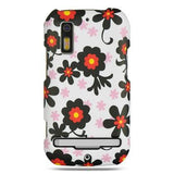 Motorola Photon 4G / MB855 Rubber Protector Case White W/ Black Daisy
