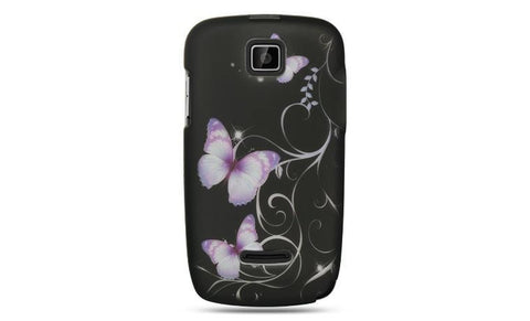 Motorola Theory Luxmo Crystal Rubber Protector Case Black W/ Purple Butterfly