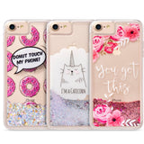 Apple iPhone 6 / 6S / 7 / 8 Luxmo Waterfall Liquid Sparkling Quicksand TPU Case - Pink Flower