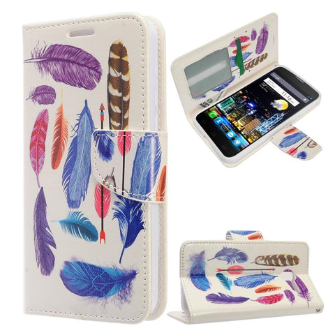 Alcatel Fierce 4 / One Touch Allura / Pop 4+ - Design Wallet Flap Pouch with TPU Inside - Colorful Feathers