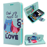 Alcatel Fierce 4 / One Touch Allura / Pop 4+ - Design Wallet Flap Pouch with TPU Inside - Owl Love