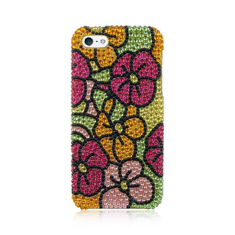 Apple iPhone 5 Luxmo Full Diamond Protector Case Green W/ Hot Pink Hawaii Flower