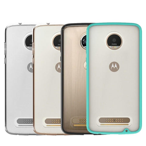 Motorola Moto Z Play Luxmo Fusion Candy TPU w/ Clear Acrylic Back - Clear