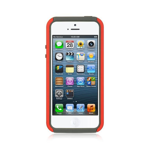 Apple iPhone 5 Luxmo High End Hybrids HB153 Gray Skin + Red Rubber Case