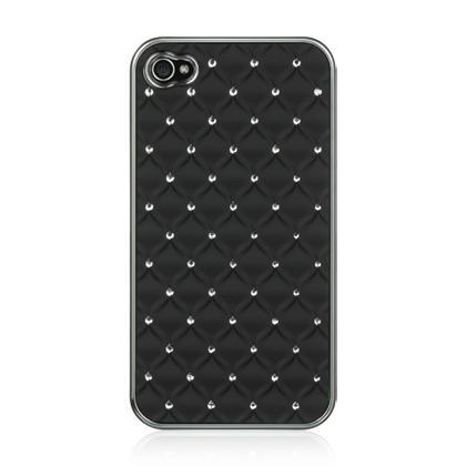 Apple iPhone 4 / 4S Luxmo Chrome Case Studded Diamond Black(Rear)