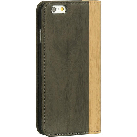Apple iPhone 6 / 6S leather Pouch Stand w/ Card Slots - Wood Grain Smoke / Beige