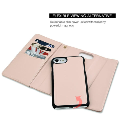 Apple iPhone 6 / 6S / 7 / 8 Luxmo Cosmo Premium Wristlet Wallet w/ Detachable Magnetic Snap On Case - Rose Gold / Pink Leather