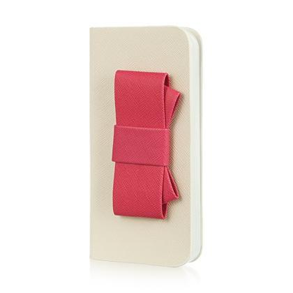 Apple iPhone 5 / 5S / SE Luxmo Wallet Pouch Bow Design - White w/ Hot Pink Bow
