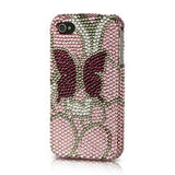 Apple iPhone 4 / 4S Luxmo Platinum Collection Endless Sparkles Series - Pink w/ Burgundy Butterfly