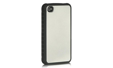 Apple iPhone 4S / 4 Compatible Platinum Collection Fusion Series Shocker Black Border + Silver Back