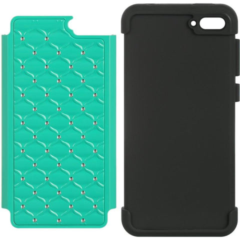 Amazon Fire Phone Luxmo Hybrid Studded Diamond Case - Green / Black