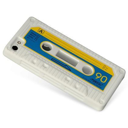 Apple iPhone 5 Luxmo Skin Case - Cassette Design White / Blue