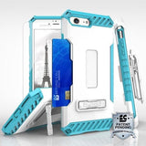 Tri Shield Kombo Case For Apple iPhone 7 / 8 White With Light Blue Silicon - Includes Holster Clip / Kick Stand