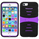 Apple iPhone 5 / 5S / SE - UCASE PC & Silicon w/ Kickstand - Black / Purple