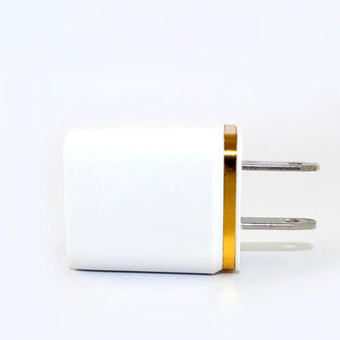 USB Universal Dual Travel Charger 2.1A w/o Packaging - White / Gold