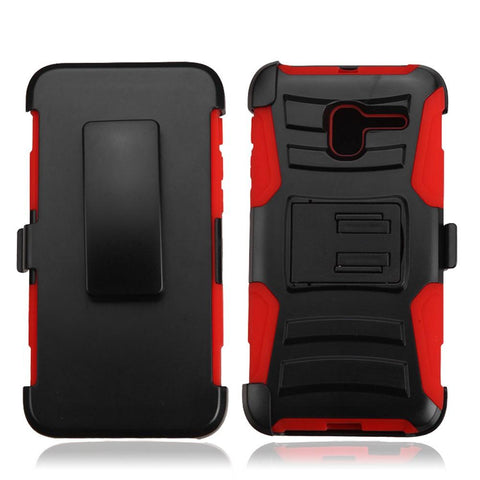 Alcatel TRU / Stellar - Heavy Duty Armor Style 2 Case w/ Holster - Red / Black
