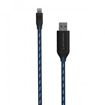 Scosche StrikeLine Flo LED Charge Sync Cable for Apple Lightning Devices - Black / Blue