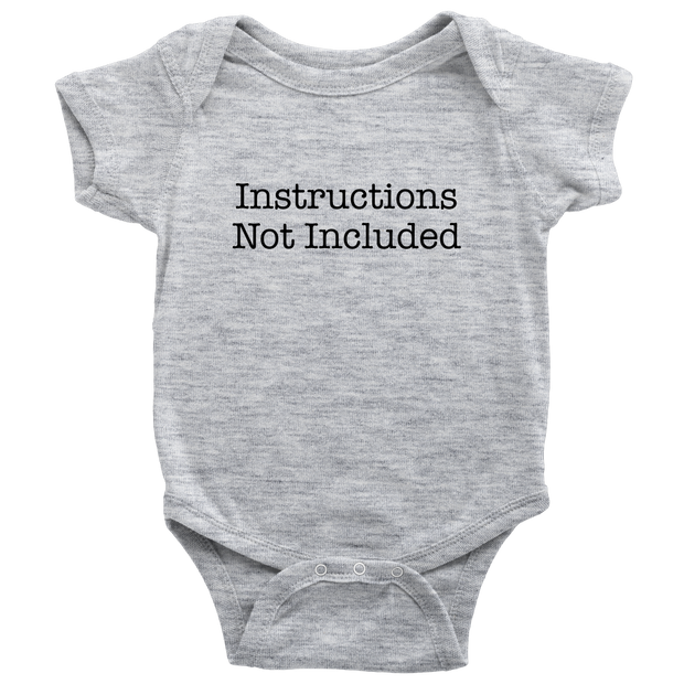 Instructions Not Included - Gray Funny Baby Onesie