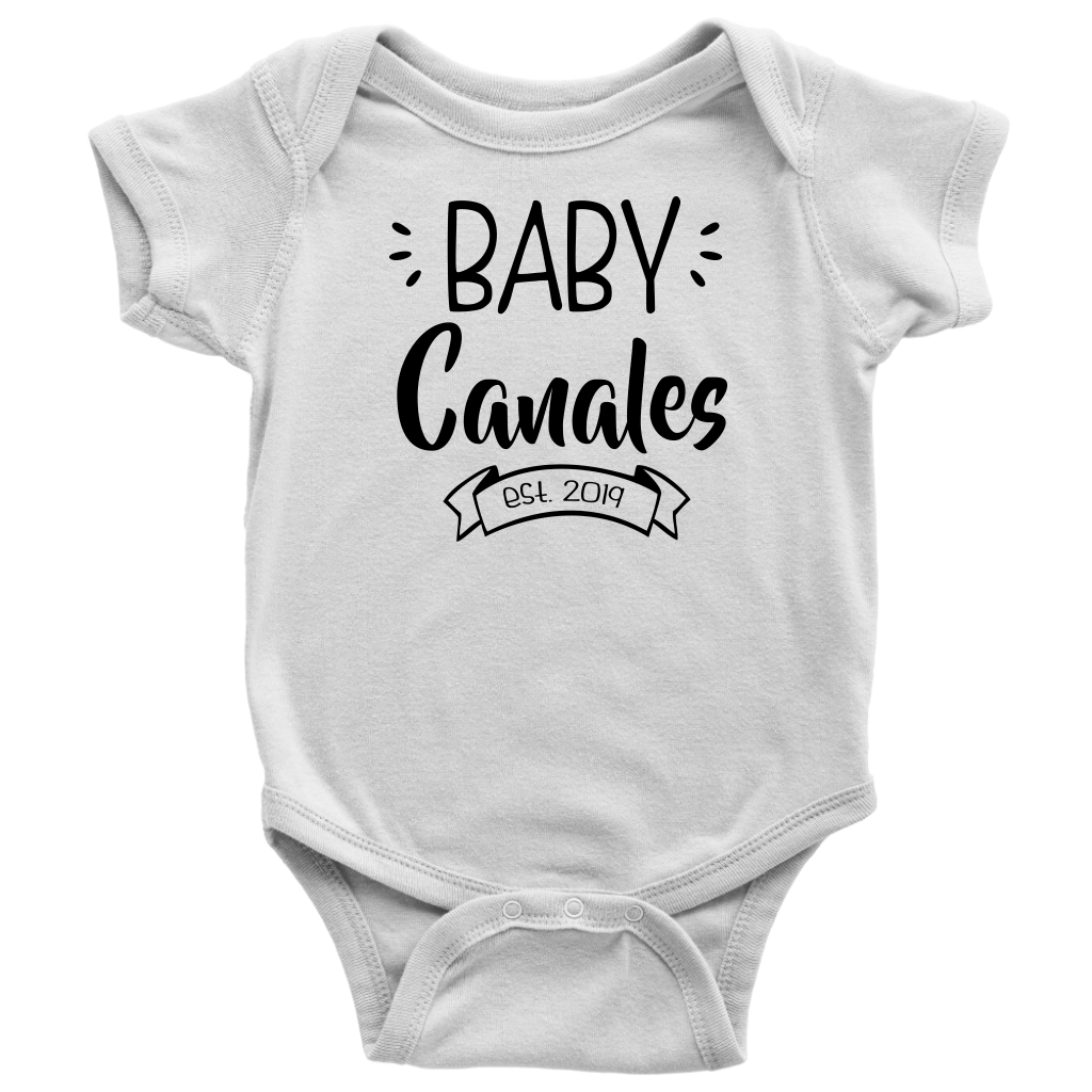 Custom Pregnancy Reveal Baby Bodysuit - Baby Canales