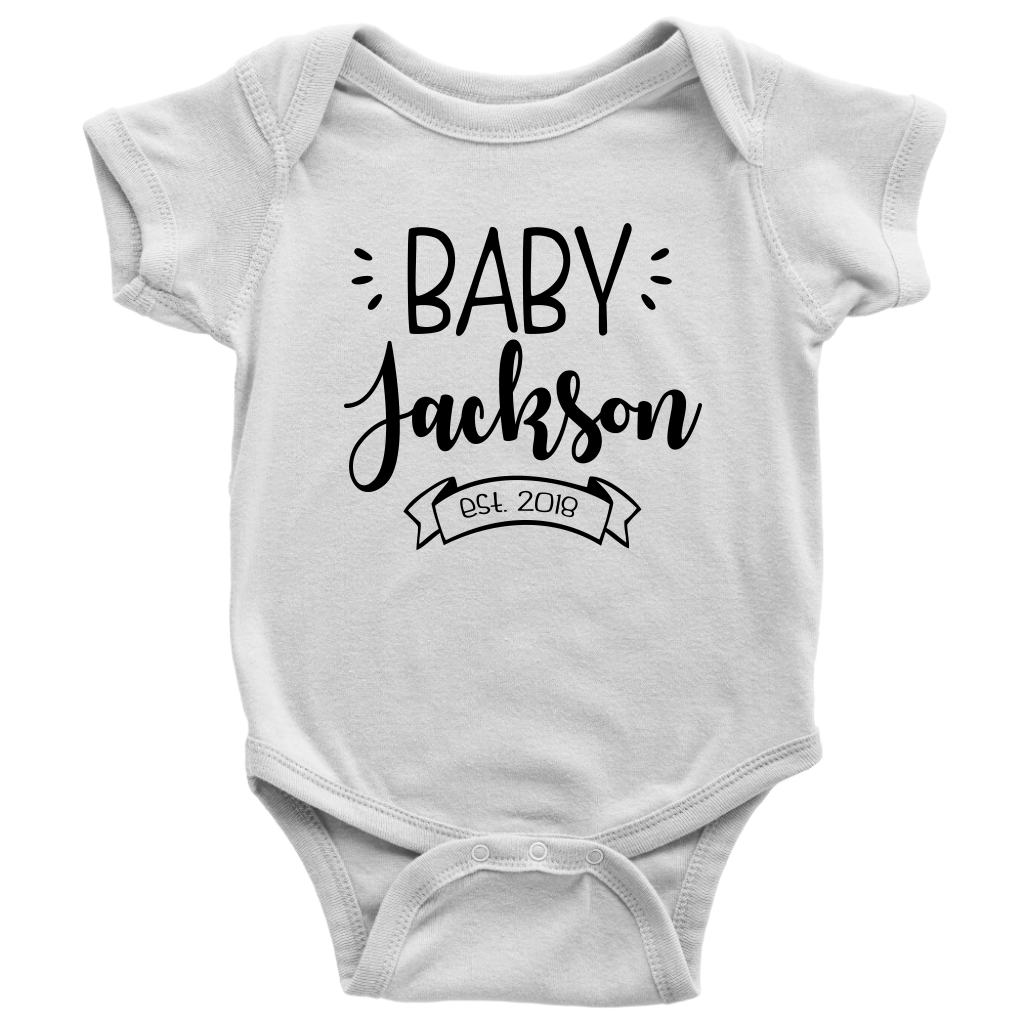 Custom Pregnancy Reveal Baby Onesie - White