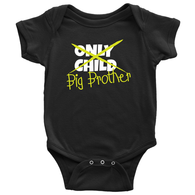Only Child to Big Brother Black Baby Onesie