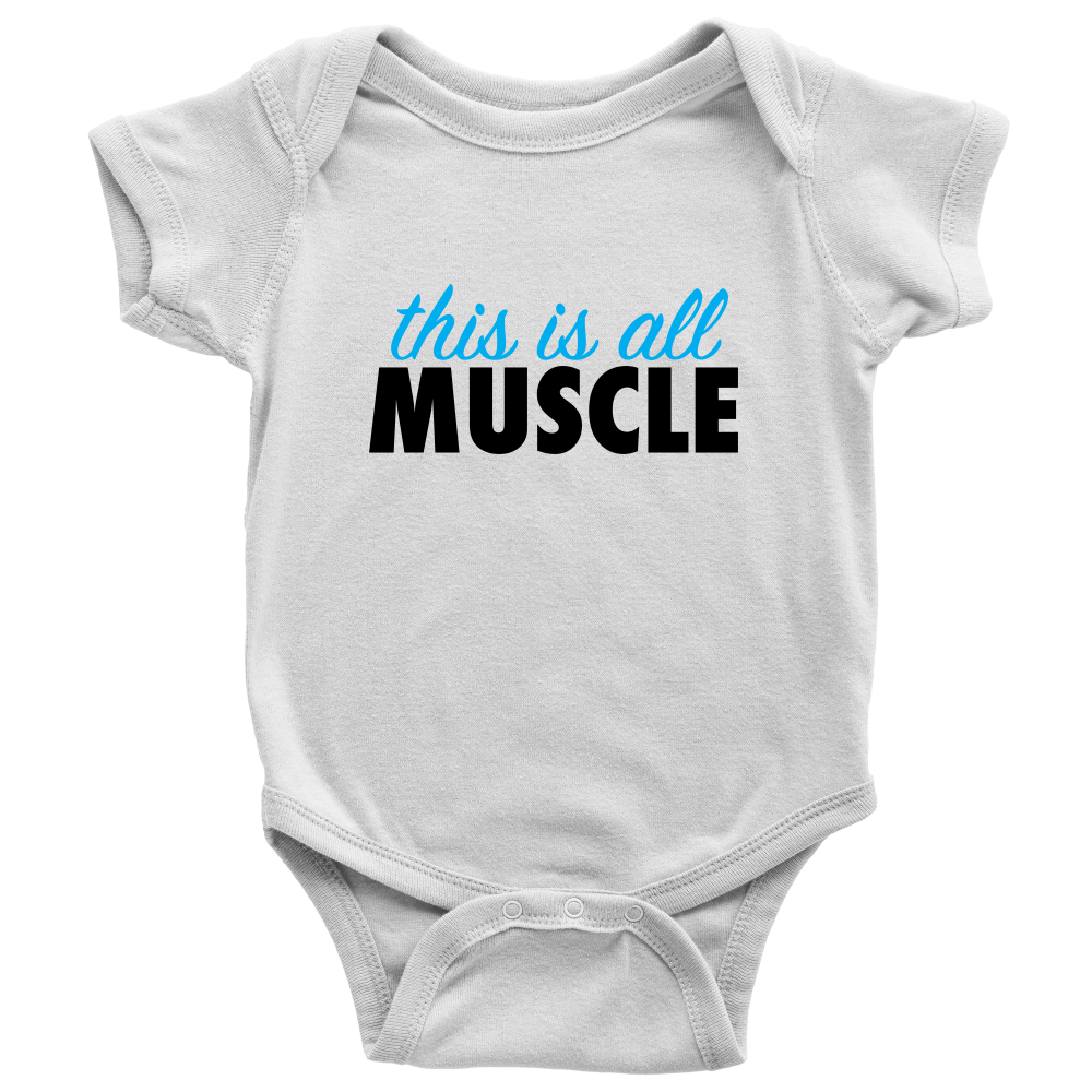 This Is All Muscle - Fun White Baby Onesie