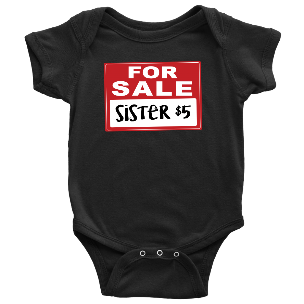 Sister for Sale - Funny Baby Onesie - Black