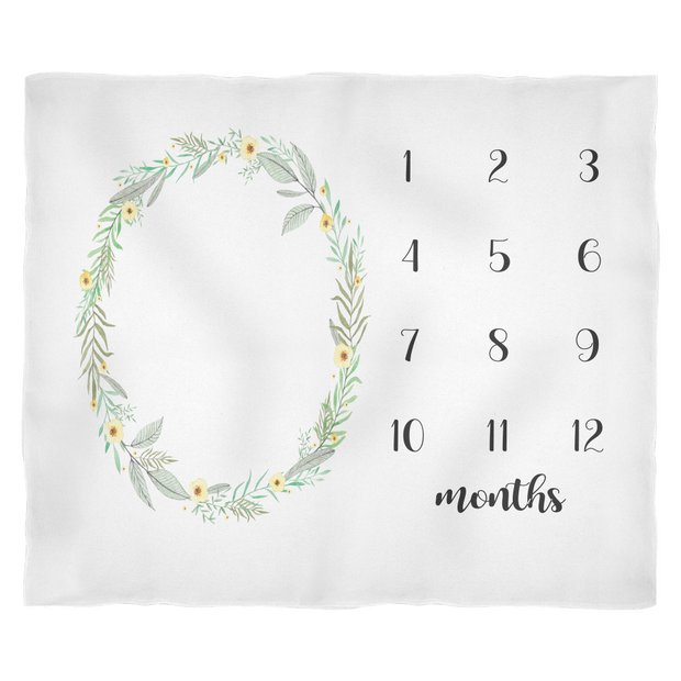 Floral Monthly Milestone Baby Blanket - Adorable Gift for Baby Girl - Small