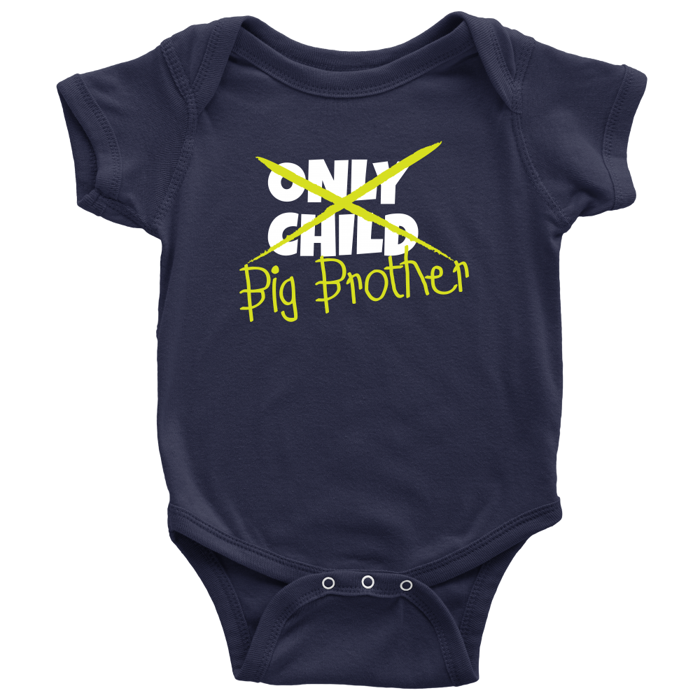 Only Child to Big Brother Navy Baby Onesie