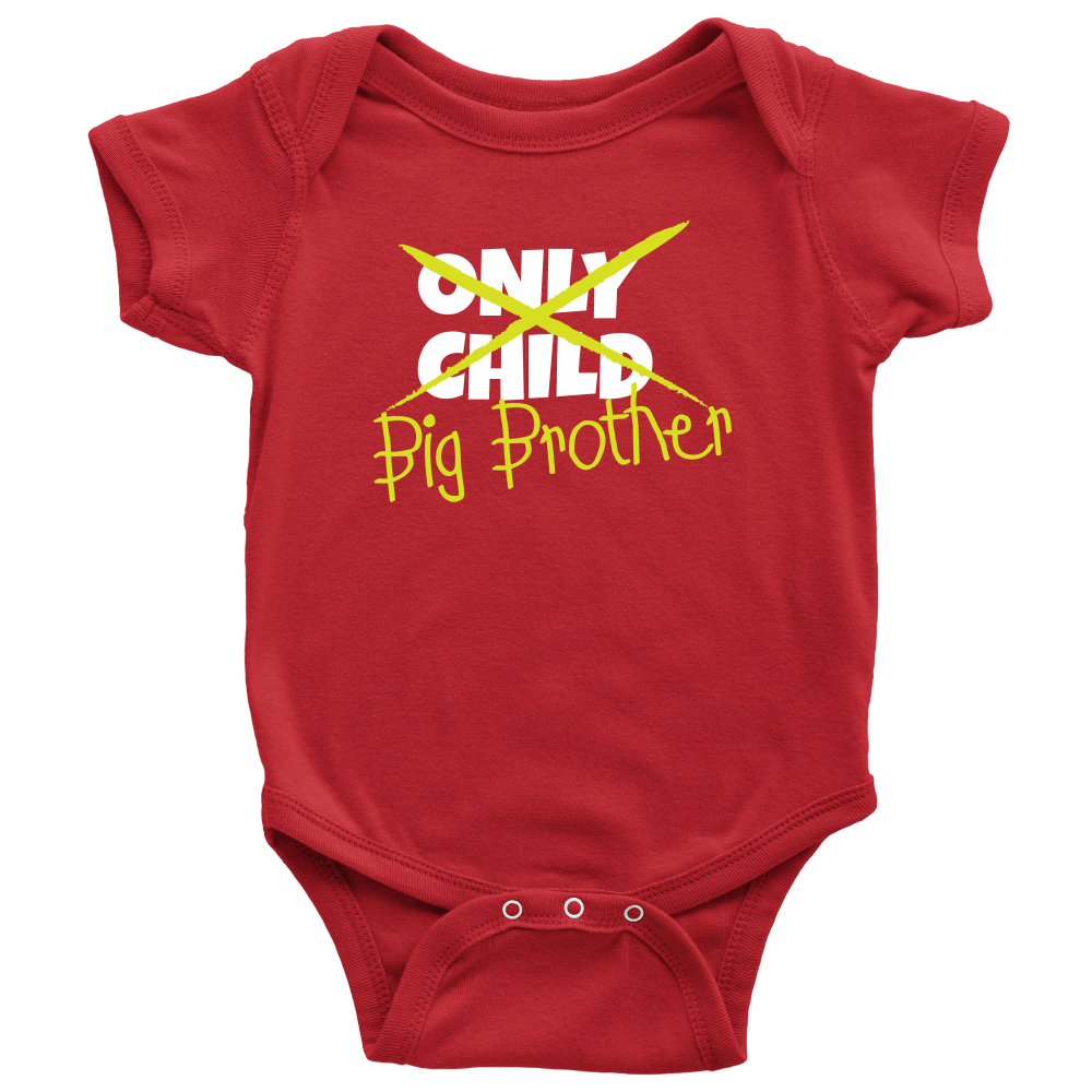Only Child to Big Brother Red Baby Onesie