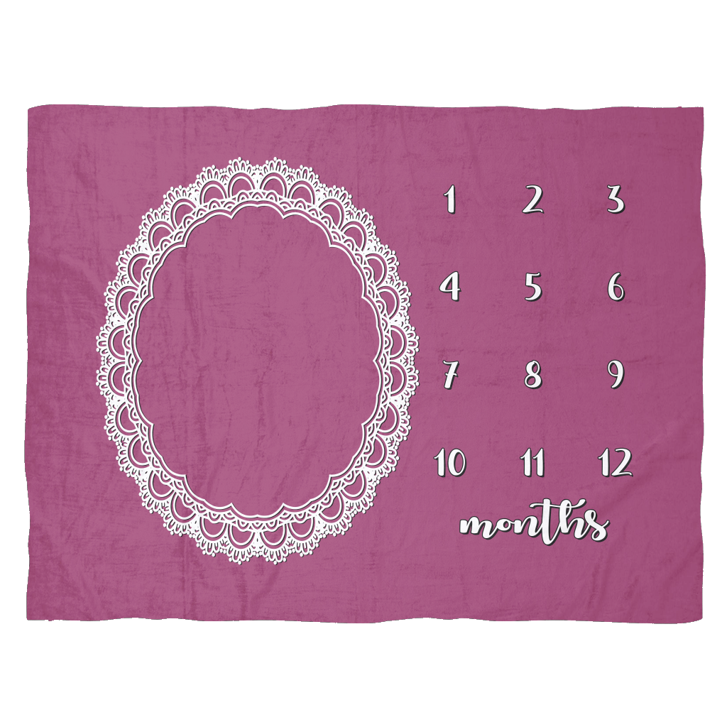 Pink Lace Monthly Milestone Baby Blanket - Cute Baby Shower Gift