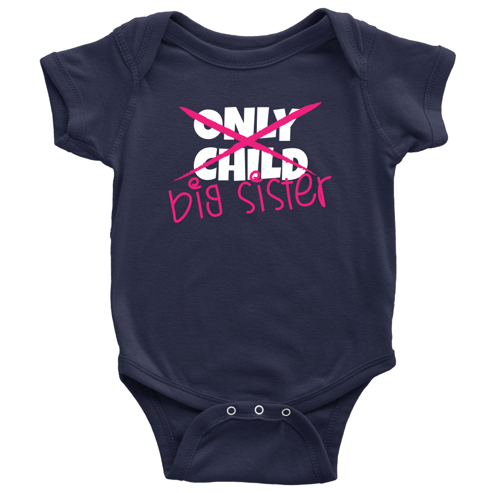 Only Child to Big Sister Navy Onesie