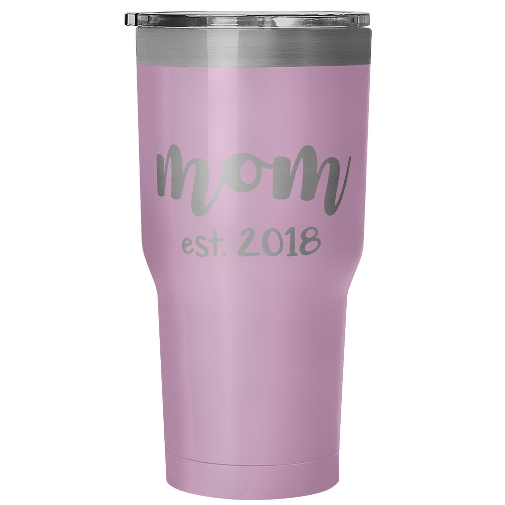 Mom est. 2018 30oz Vacuum Tumbler - Light Purple