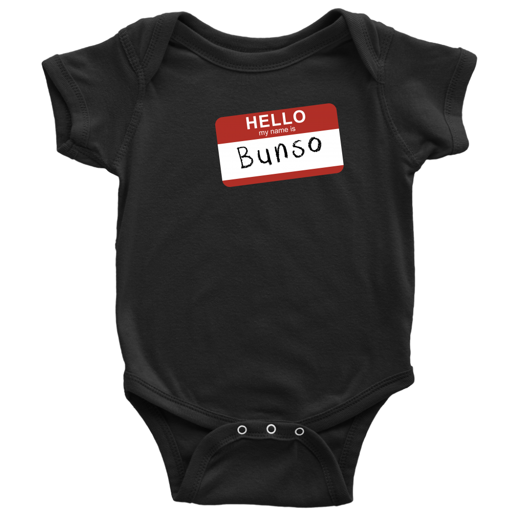 Custom Baby Bodysuit - Hello My Name is Bunso
