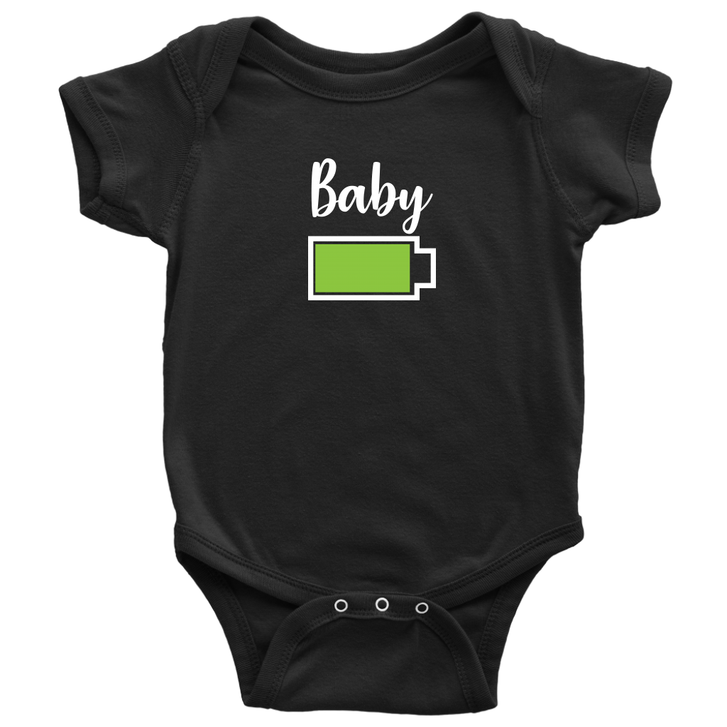 Baby - Full Battery Onesie - Funny Family Matching Shirt - Black