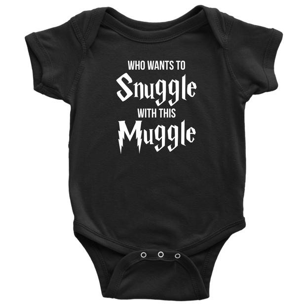 Who Wants To Snuggle With This Muggle - Harry Potter Inspired Baby Onesie - Black