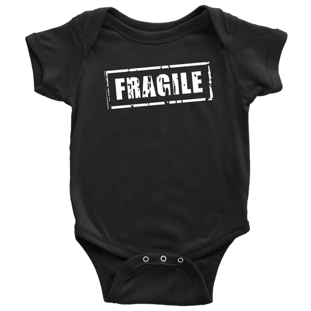 Fragile - Fun Newborn Baby Onesie - Black