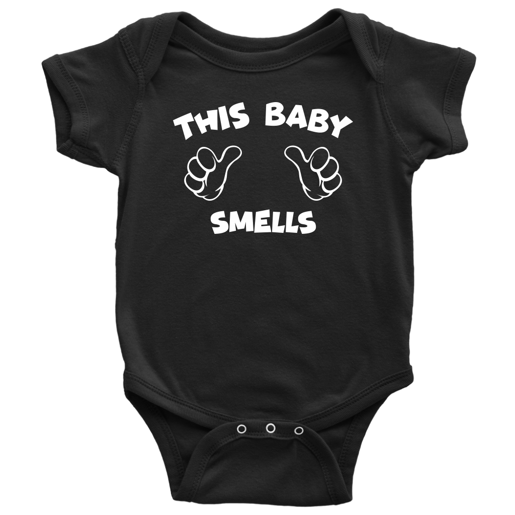 This Baby Smells - Funny Baby Onesie - Black