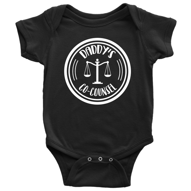 Daddy's Co-Counsel Baby Bodysuit - Black