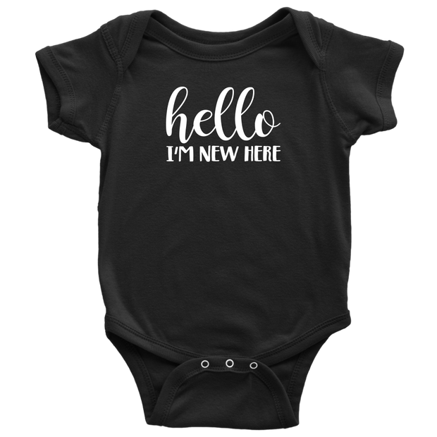 Hello I'm New Here - Cute Newborn Baby Onesie - Black