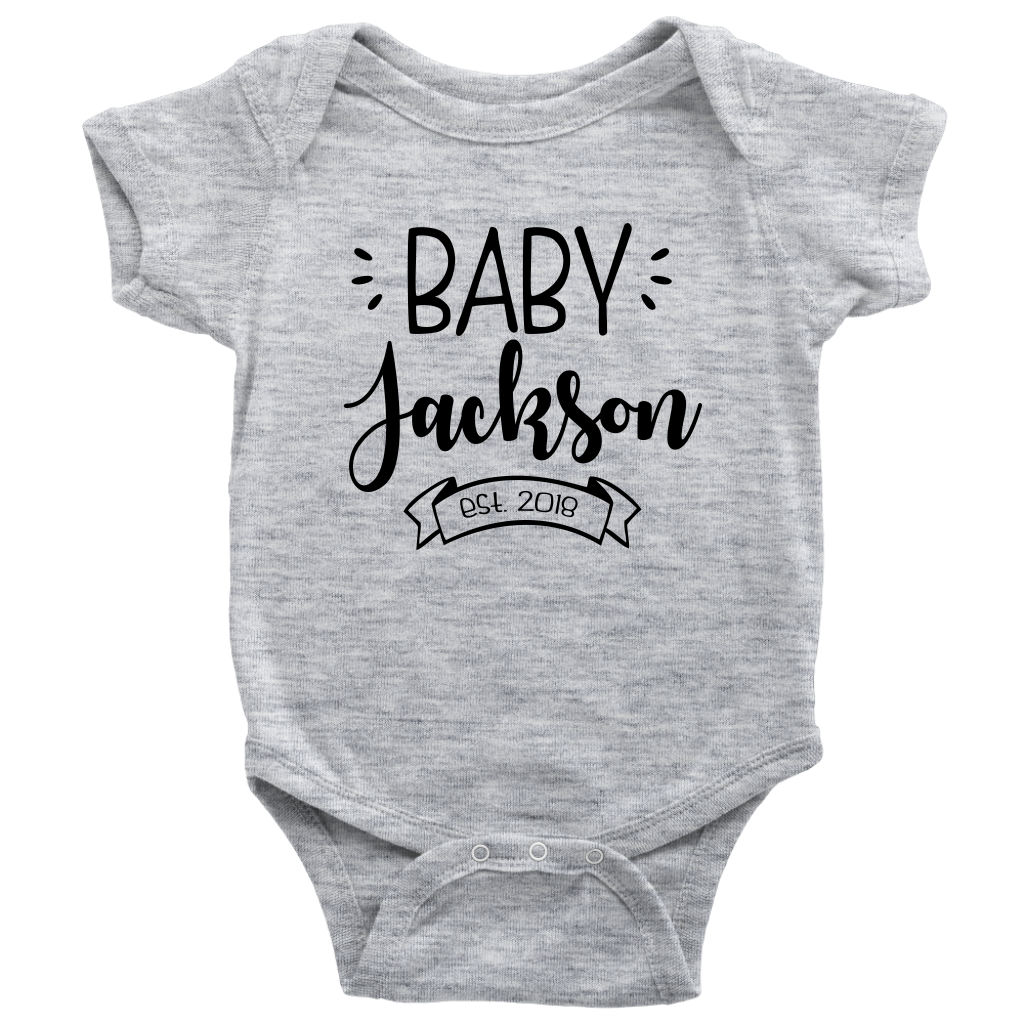 Custom Pregnancy Reveal Baby Onesie - Gray