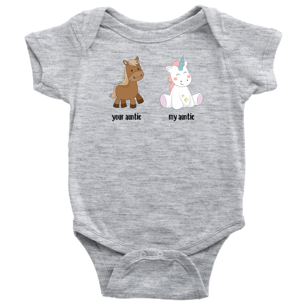 My Auntie vs Your Auntie - Unicorn Baby Bodysuit