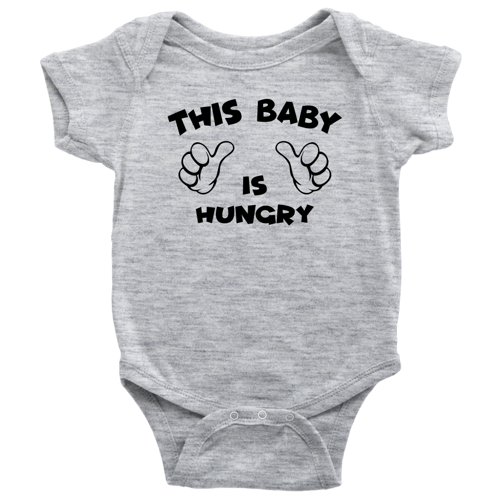 This Baby Is Hungry - Funny Baby Onesie - Grey