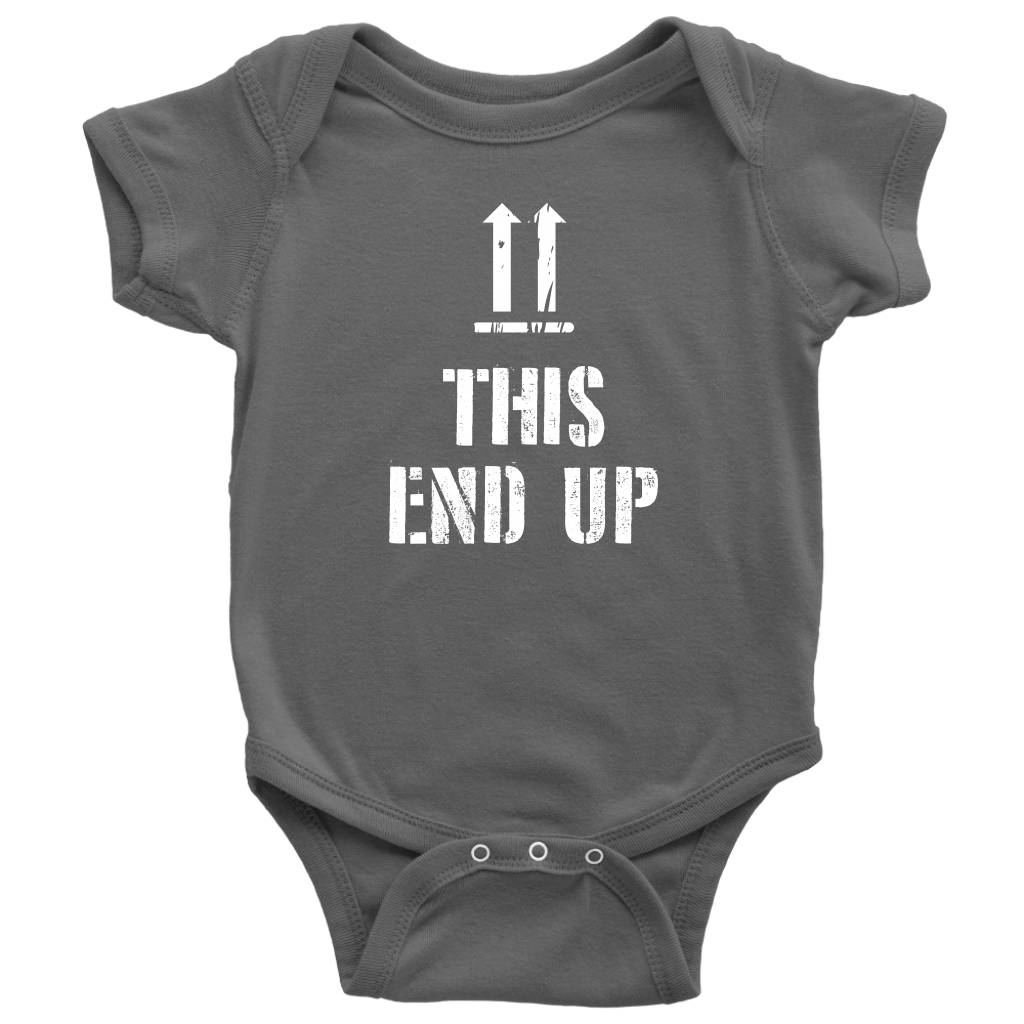 This End Up - Funny Baby Onesie - Gray
