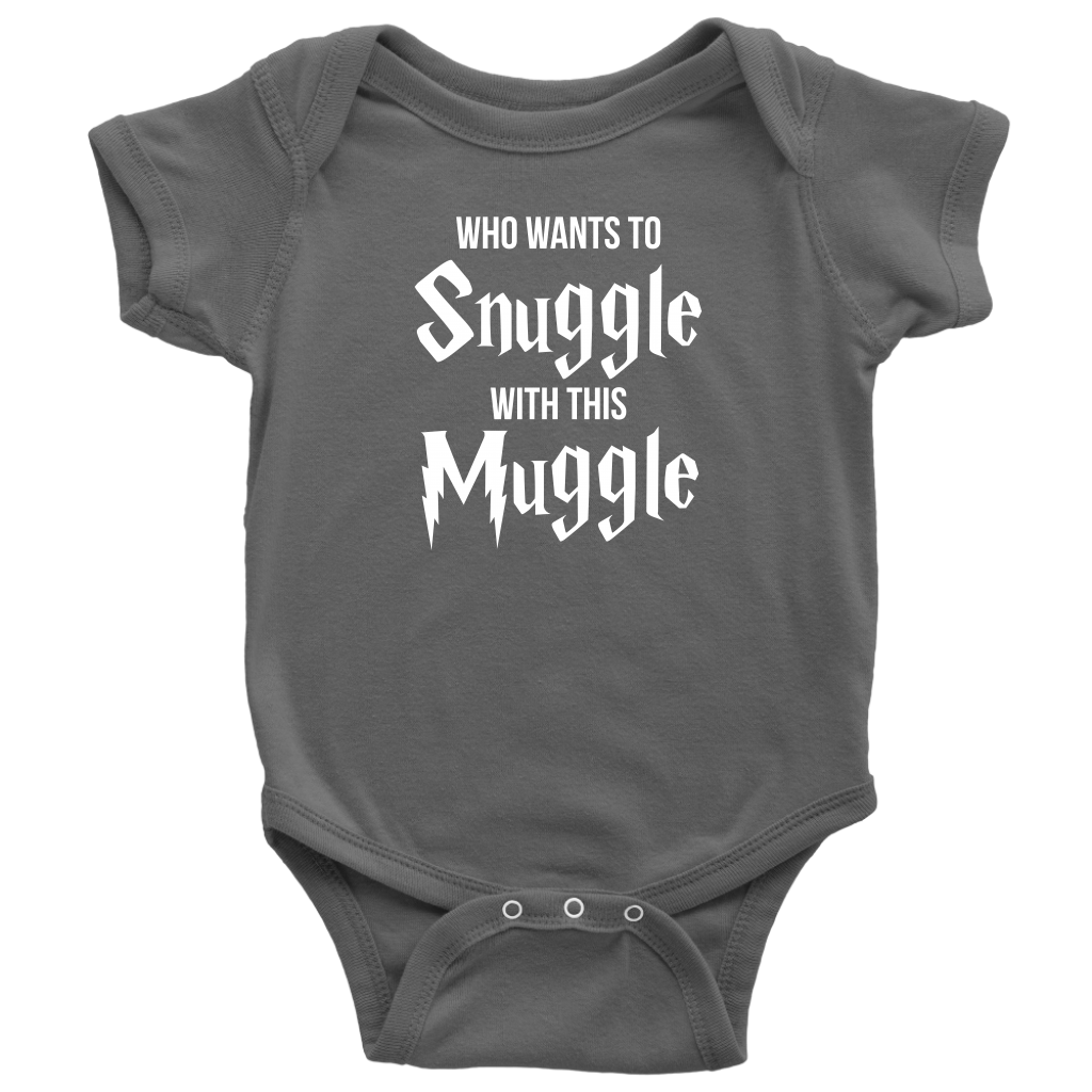 Who Wants To Snuggle With This Muggle - Harry Potter Inspired Baby Onesie - Gray
